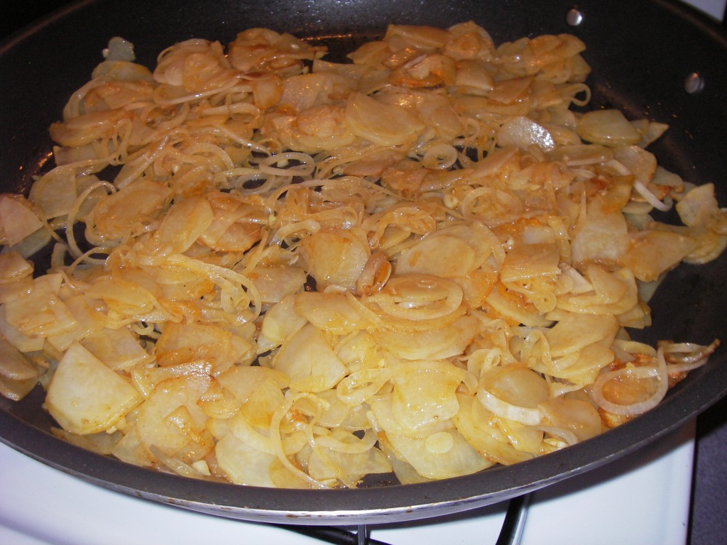 Potatoes and onions cooking