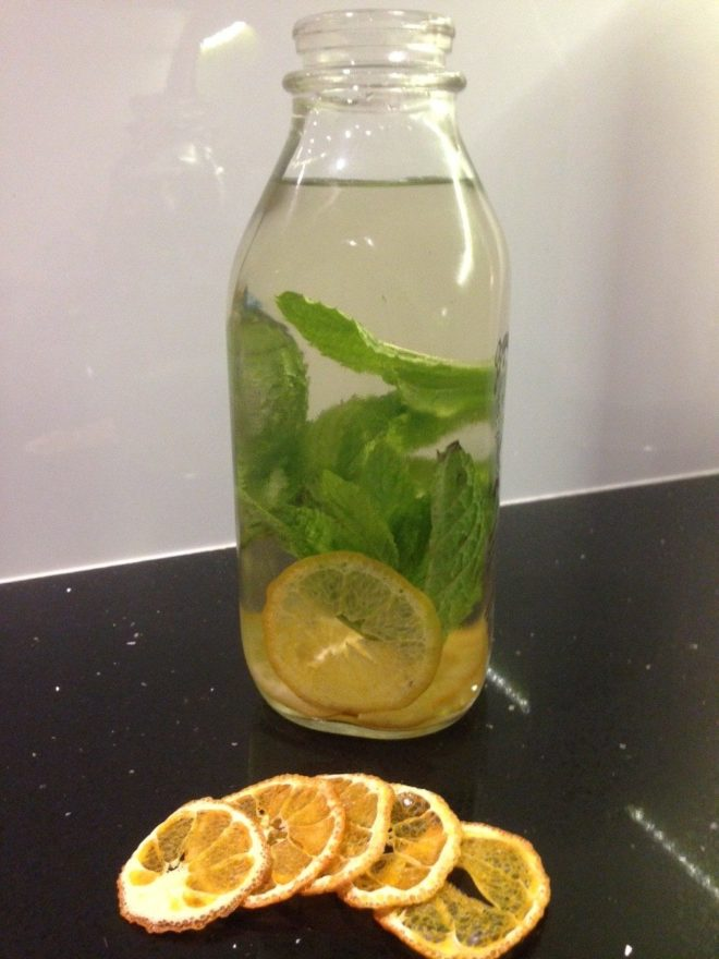 water infused with ginger, lemongrass, orange, mint