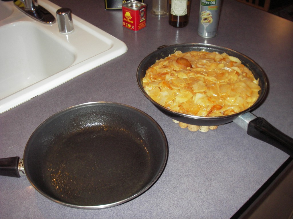 Tortilla Espanola before flipping