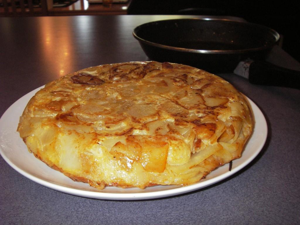 Tortilla Espanola let cool to room temperature
