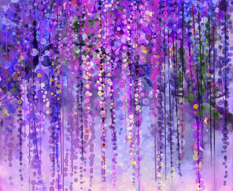 Spring purple flowers watercolor painting